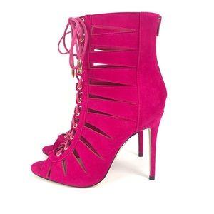 Show Republic LA Pink Suede Lace Up Heels Size 8.5